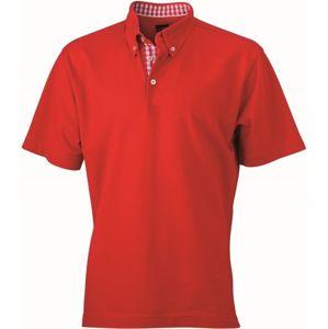 James & Nicholson Elegantná pánska polokošeľa JN964 - Červená / červená / bílá | M