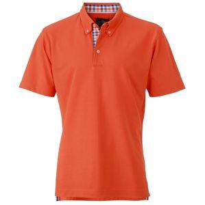 James & Nicholson Elegantná pánska polokošeľa JN964 - Tmavě oranžová / modrá / oranžová / bílá | XL