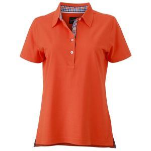 James & Nicholson Elegantná dámska polokošeľa JN969 - Tmavě oranžová / modrá / oranžová / bílá   XL