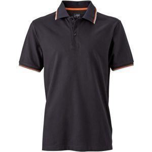 James & Nicholson Moderná pánska polokošeľa JN966 - Černá / bílá / oranžová | XXL