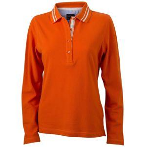 James & Nicholson Dámska polokošeľa s dlhým rukávom JN967 - Tmavě oranžová / bílá | XXL