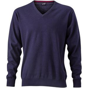 James & Nicholson Pánsky bavlnený sveter JN659 - Tmavě modrá   S