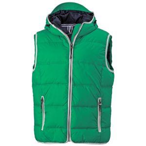 James & Nicholson Pánska vesta s kapucňou JN1076 - Irská zelená / bílá | S