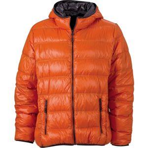 James & Nicholson Ľahká pánska páperová bunda JN1060 - Tmavě oranžová / tmavě šedá | M