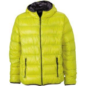 James & Nicholson Ľahká pánska páperová bunda JN1060 - Žlutá / tmavě šedá | XXL