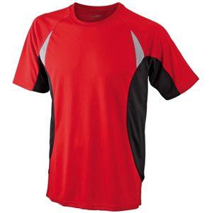 James & Nicholson Pánske funkčné tričko s krátkym rukávom JN391 - Červená / černá | M