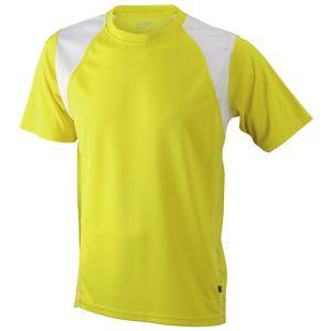 James & Nicholson Pánske bežecké tričko s krátkym rukávom JN397 - Žlutá / bílá   XXXL