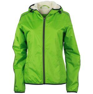 James & Nicholson Dámska bunda Baránok JN1103 - Jarně zelená / šedo-bílá | XL