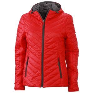 James & Nicholson Ľahká dámska obojstranná bunda JN1091 - Červená / tmavě šedá | XL