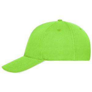 Myrtle Beach Šiltovka z bio bavlny sandwich MB6238 - Limetkově zelená / bílá