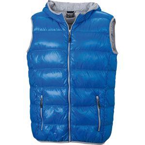 James & Nicholson Ľahká pánska páperová vesta JN1062 - Modrá / stříbrná | XXL