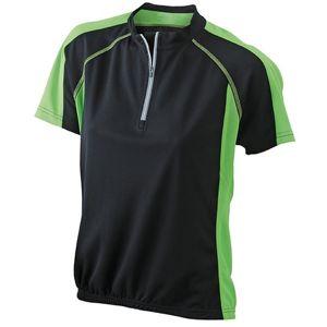 James & Nicholson Dámske cyklistické tričko JN419 - Černá / limetková   S