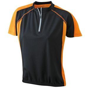 James & Nicholson Dámske cyklistické tričko JN419 - Černá / oranžová   L