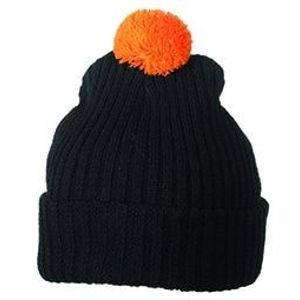 Myrtle Beach Pletená čiapka s brmbolcom MB7540 - Černá / oranžová | uni