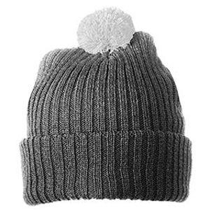 Myrtle Beach Pletená čiapka s brmbolcom MB7540 - Tmavě šedá / světle šedá | uni