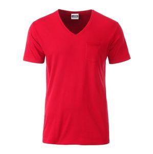 James & Nicholson Pánske tričko z biobavlny 8004 - Červená | L