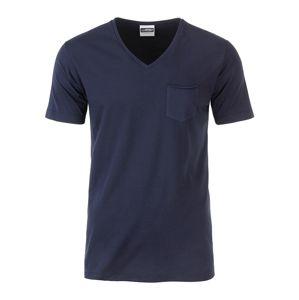 James & Nicholson Pánske tričko z biobavlny 8004 - Tmavě modrá | XL