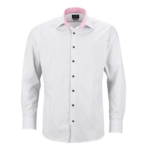 James & Nicholson Pánska luxusná košeľa Dots JN674 - Bílá / titanová   S