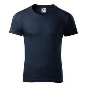Adler Pánske tričko Slim Fit V-neck - Námořní modrá | M