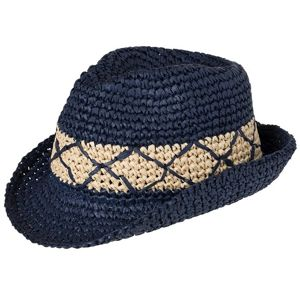 Myrtle Beach Módny klobúk MB6702 - Tmavě modrá / slámová | L/XL