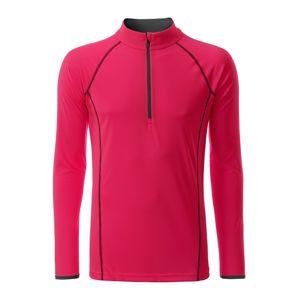 James & Nicholson Pánske funkčné tričko s dlhým rukávom JN498 - Jasně růžová / titanová | L