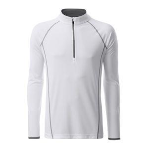 James & Nicholson Pánske funkčné tričko s dlhým rukávom JN498 - Bílá / stříbrná   XXL
