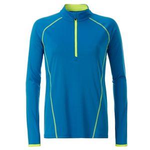 James & Nicholson Dámske funkčné tričko s dlhým rukávom JN497 - Jasně modrá / jasně žlutá | XS