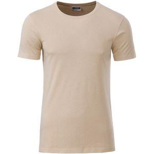 James & Nicholson Klasické pánske tričko z biobavlny 8008 - Stone | M